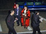 The Mayor of Yeovil watches us as we trundle by.  Yeovil Carnival 2001, 03-Nov-2001