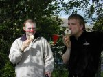 Kevin and Rich taking time out to enjoy a well earned ice cream after the fun day was over.
