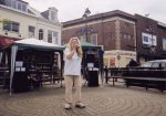 Amanda Randall entertains the crowd at the launch of the Light Up The Darkness campaign.